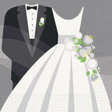 SILVER WEDDING LUNCH NAPKINS (16) ~ Bridal Party Supplies Serviettes Bride Groom