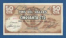 L'AJUNTAMENT DE PINS DEL VALLES -- 50 CÉNTIMOS ( 1937 ) -- MBC+ -- SERIE A .