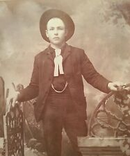 ANTIQUE AMERICAN COWBOY STEVENS POINT WI FASHION POLICE CUTE CABINET CARD PHOTO
