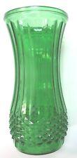 "Vintage Emerald Green Hoosier Glass Diamond Cut Rib 8.5"" Tall Vase 4088"