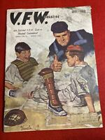1956 July VFW Magazine Baseball Cover By Phillip Vessels D-Day In Dallas