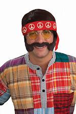 Hippie Kit Wig Glasses Headband Sideburns & Moustache Set  60's 70's