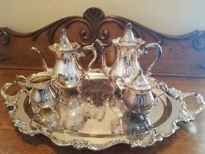 Vintage Wallace Royal Rose Large Waiter Tea Set Tray w/ Serving Pieces