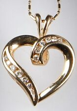 New Round DIAMOND HEART PENDANT 14K Solid YELLOW GOLD .50TCW H/SI 3.40 grams