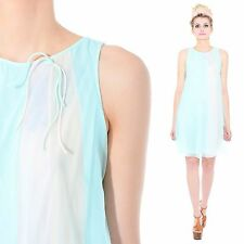 Vintage 60s PASTEL BLUE Babydoll Nylon Sheer Lace Nightie Lingerie Nightgown M