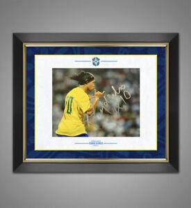 Ronaldinho SIGNED & FRAMED 10X8 Photo Brazil Genuine Signature AFTAL COA