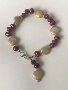 Lovely Mixed coloured Freshwater Pearl Bracelet Sterling Silver Clasp Flat Pearl