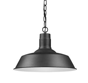 Barn Black Hanging Light Outdoor Traditional Porch or Laundry Room Aluminum New