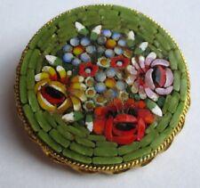 Broche couleur or micro mosaïque médaillons fleur ancien bijou vintage 5018