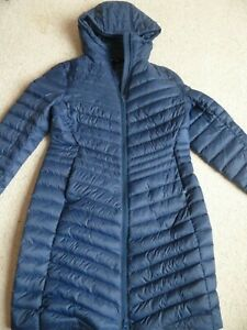 Lands' End Feather Down Long Hooded Coat Navy puffer padded quilted Size S 10 uk