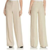 Theory Emory Wide Leg Pants Linen Wool Blend Mid Rise Stretch Tan Womens Size 6