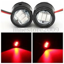 2x 12V Motorcycle Rearview Mirror Eagle Eye 3 LED Flash Strobe Lights DRL Red