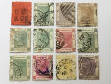 old stamps  HONG KONG  x  12  QV