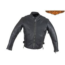 Mens Leather Motorcycle Jacket With Air Vents #  MJ820-11