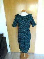 Ladies WALLIS Dress Size 12 Black Green Stretch Textured Party Evening
