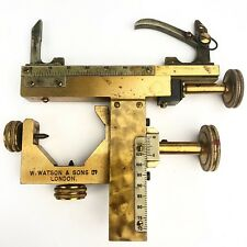 Rare Antique 19th C. WATSON & SONS Brass Microscope Mechanical Translation Stage