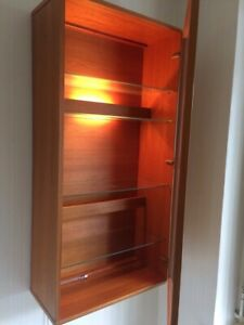Tapley 33 Two Teak Wall Cabinets with glass doors. One RH and one LH opening
