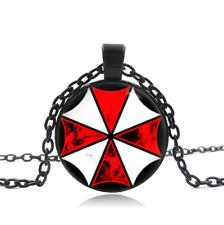 Resident Evil Umbrella Corp Black Glass Cabochon Necklace chain Pendant