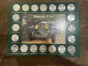 Historic Cars Coin Collection in a Presentation Board by Shell Complete Set