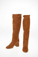 MIU MIU women Boots Sz 36 IT Brown Suede Leather Shoes Knee Boots Bootie Brow...