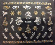 Accessoire ongles : nail art , Stickers noël : Bougies, sapins blanc et doré