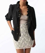 New-Size Small-KimChi Blue-Women Ruffled Collar Jacket-Black-Light-Long Sleeves