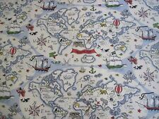 "Sanderson Curtain Fabric Design ""treasure Map"" 3 Metres Vanilla Abracazoo"