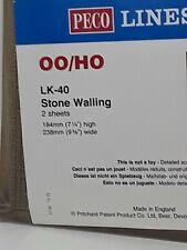 Peco LK-40 Model Railway OO Gauge Embossed Plastic Stone Wall Sheets Pack 2 New