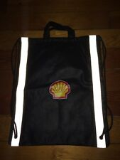 Shell Gasoline Petrol Drawstring Backpack Bag Black With reflectors 15.5x12.75