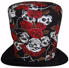 Day of the Dead-Skull/Rose Grave Digger Top Hat