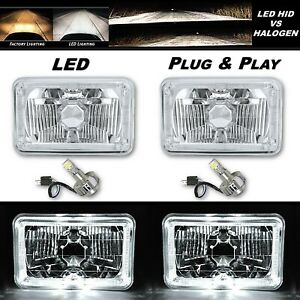 4X6 White Halo Angel Eye H4 Crystal Clear Headlight Headlamp w/ 6k LED Bulb Pair