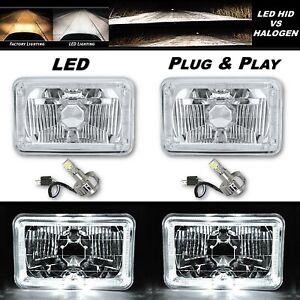 4X6 White Halo Angel Eye H4 Crystal Clear Headlight Headlamp w/ 6k LED Bulb Pair