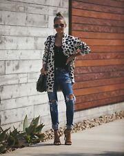 Women's Long Sweater Coat Fashion Cardigan Outwear Jacket Leopard Print Tops USA