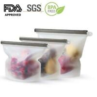 Reusable Silicone Food Fresh Bag Seal Storage Container Refrigerator Zip pouch