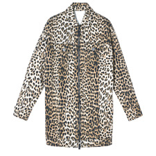 NEW Longchamp Leopard Print Long Line Cotton Jacket SIZE 36