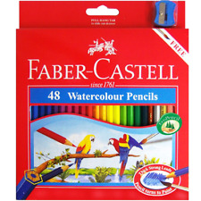 NEW Faber-Castell 48x WaterColour Colour Pencils + Sharpener + Brush Set Pack