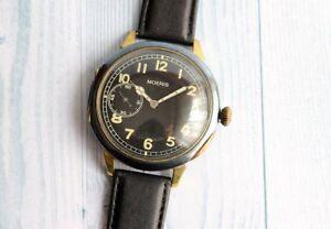 MOERIS Swiss Military WWII German Army Vintage men's Mechanical Wristwatch Rare