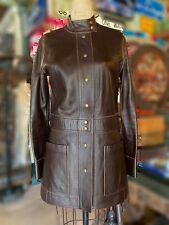 Louis Vuitton Long Leather Jacket / Dark Brown Coat Sz 36, Small