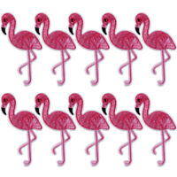 10PCS Flamingo Patch Embroidered Sew Iron On Bag Fabric Applique DIY Craft P1US
