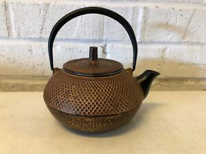 Vintage Asian Chinese Marked Dotted Mixed Metal Decorative Tea Pot with Filter