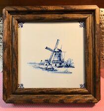 Vintage Delft Windmill Tile Dutch Framed Authentic