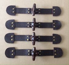 4x Brown Pebble Leather, Brown Toggle Button, Metal Rivets, Duffle Coat Fastener
