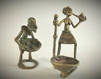 2 statuettes anciennes en bronze Burkina Fasso - cire perdue «Scène cuisine»
