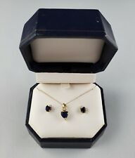 """10K Yellow Gold Sapphire Diamond Pendant Necklace 18"""" & Earrings Set Rope GND"""