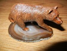 Beautiful Bear Cub Sculpture with One of a Kind Polished Stone Base - New Artist