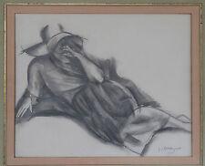 J.L.BOUSSINGAULT DESSIN FEMME AU CHAPEAU, ALLONGEE 1920