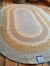 Blue Green Grey Beige American Braided style oval rugs soft Cotton rustic look