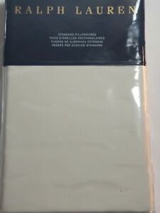 Ralph Lauren Olivia Mirada Cotton Standard Pillowcases Vintage Cream New NIP