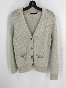 Jenni Kayne Ivory Cotton Linen Women's V-Neck Cardigan Sweater Sz S