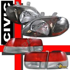 96 97 98 Honda Civic EK 2Dr Coupe JDM Chrome Gunmetal Headlights + Tail Lights